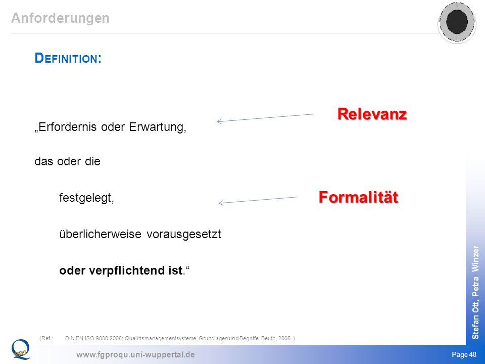 Relevanz Formalität Anforderungen Definition:
