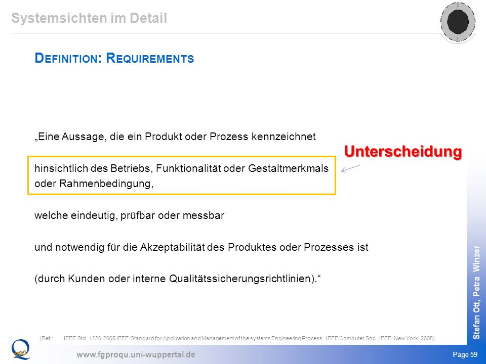 Unterscheidung Systemsichten im Detail Definition: Requirements