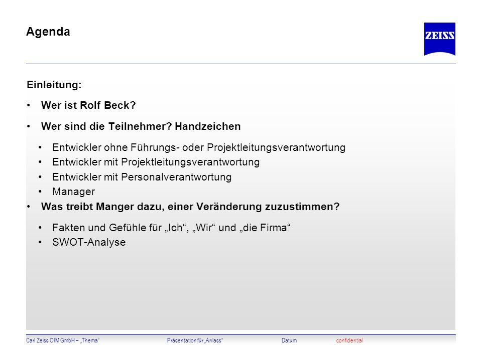 Agenda Einleitung: Wer ist Rolf Beck