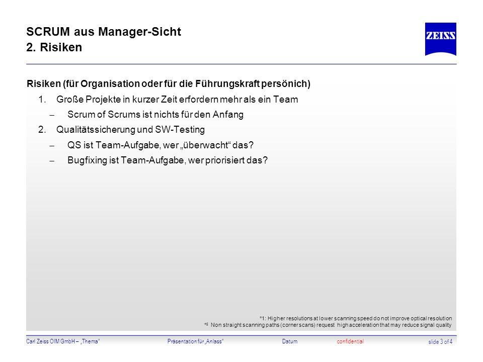 SCRUM aus Manager-Sicht 2. Risiken
