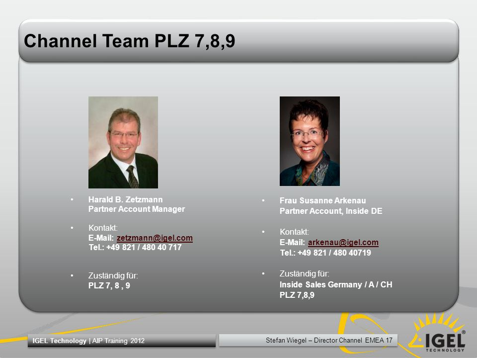 Channel Team PLZ 7,8,9 Harald B. Zetzmann Partner Account Manager