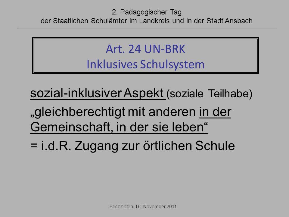 Art. 24 UN-BRK Inklusives Schulsystem