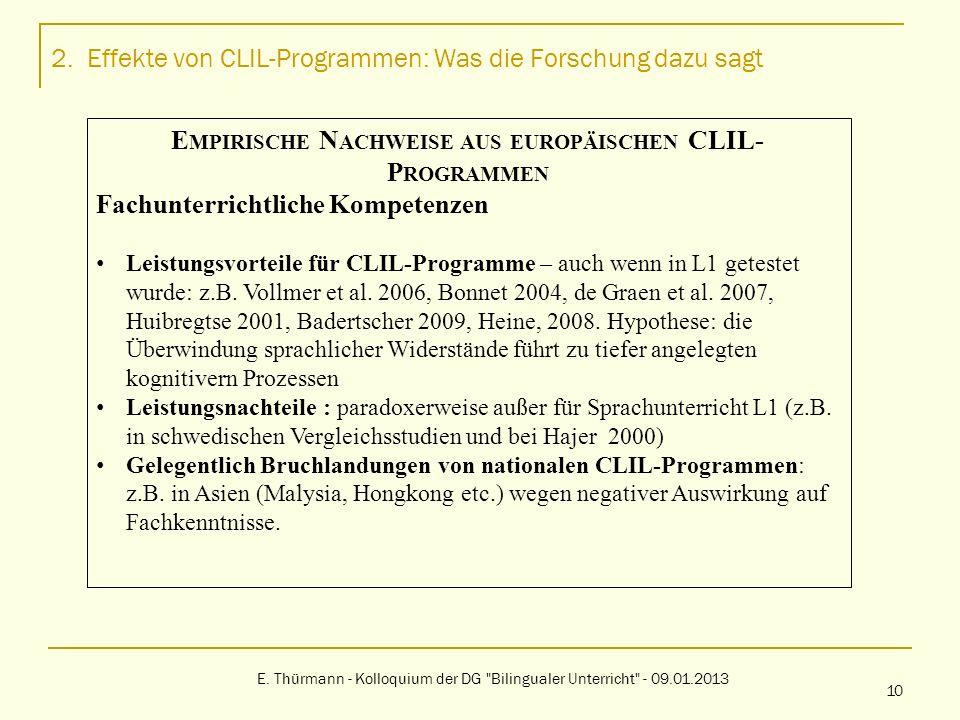2. Effekte von CLIL-Programmen: Was die Forschung dazu sagt