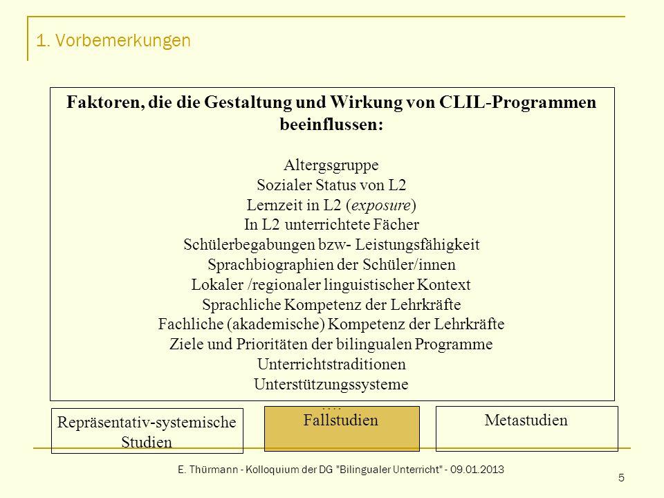 1. VorbemerkungenFaktoren, die die Gestaltung und Wirkung von CLIL-Programmen beeinflussen: Altergsgruppe.