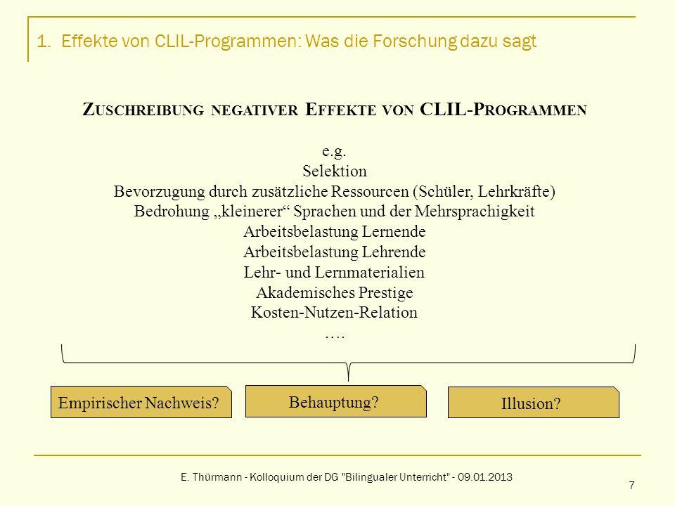 1. Effekte von CLIL-Programmen: Was die Forschung dazu sagt