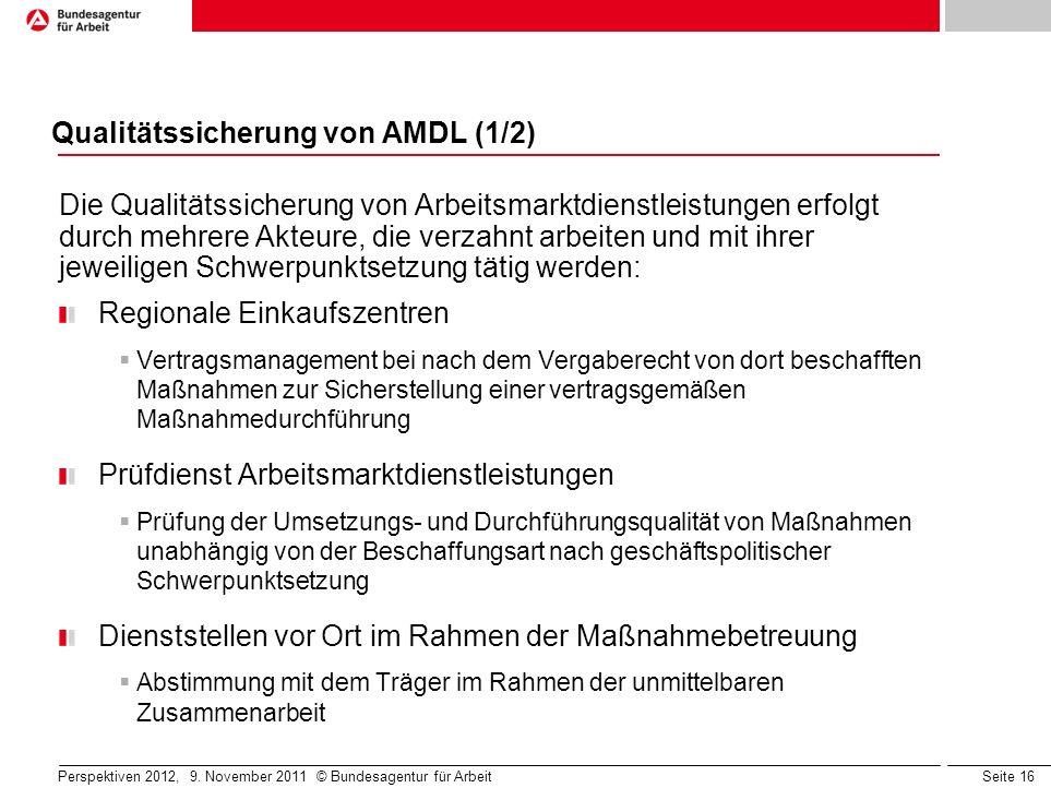 Qualitätssicherung von AMDL (1/2)