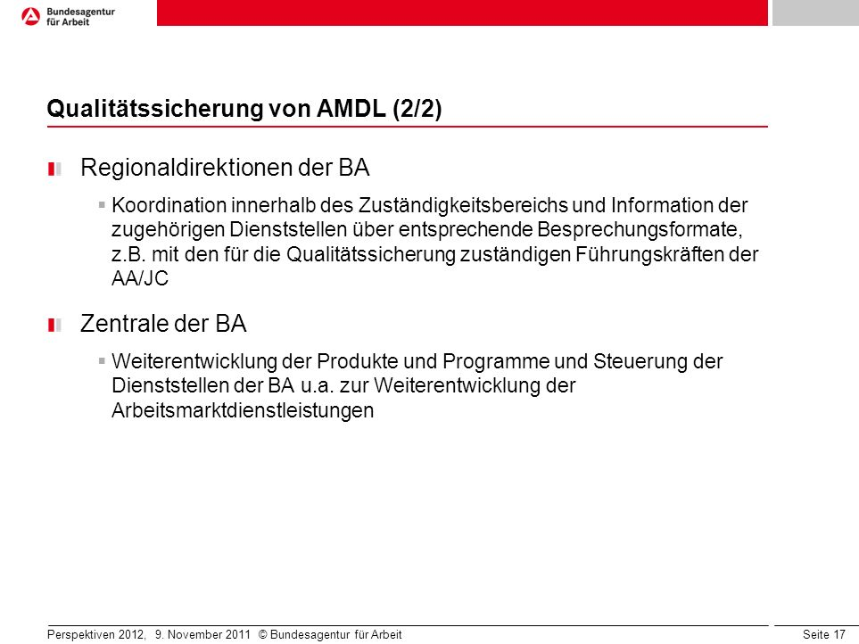 Qualitätssicherung von AMDL (2/2)