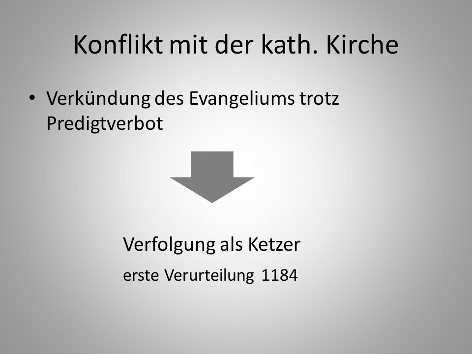 Konflikt mit der kath. Kirche