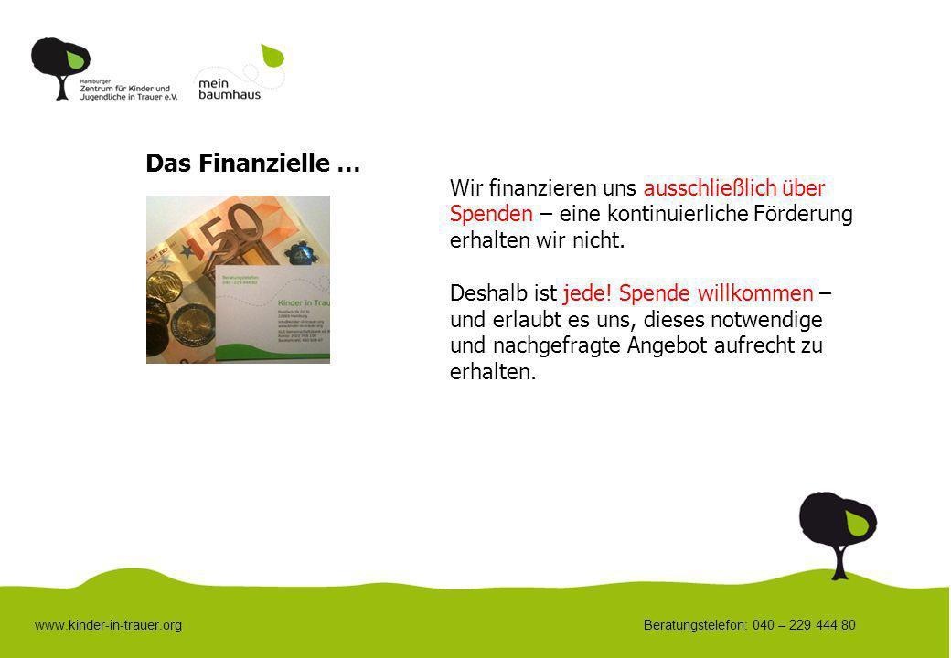 Das Finanzielle … Wir finanzieren uns ausschließlich über Spenden – eine kontinuierliche Förderung erhalten wir nicht.