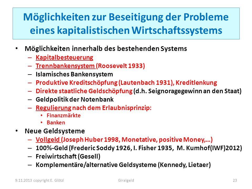 Möglichkeiten zur Beseitigung der Probleme eines kapitalistischen Wirtschaftssystems