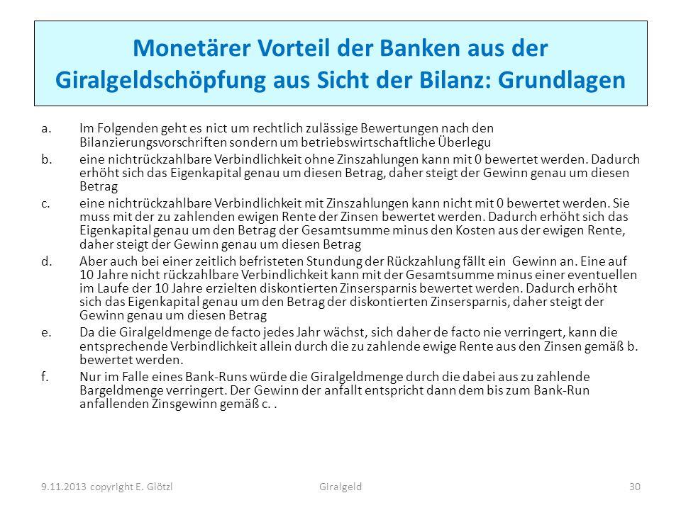 Monetärer Vorteil der Banken aus der Giralgeldschöpfung aus Sicht der Bilanz: Grundlagen