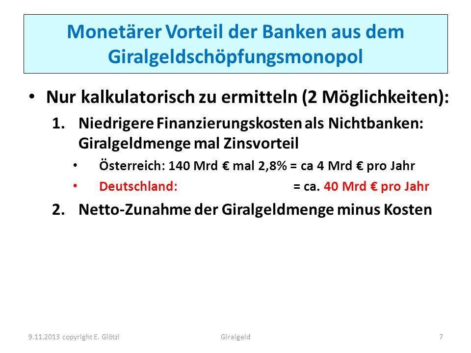Monetärer Vorteil der Banken aus dem Giralgeldschöpfungsmonopol