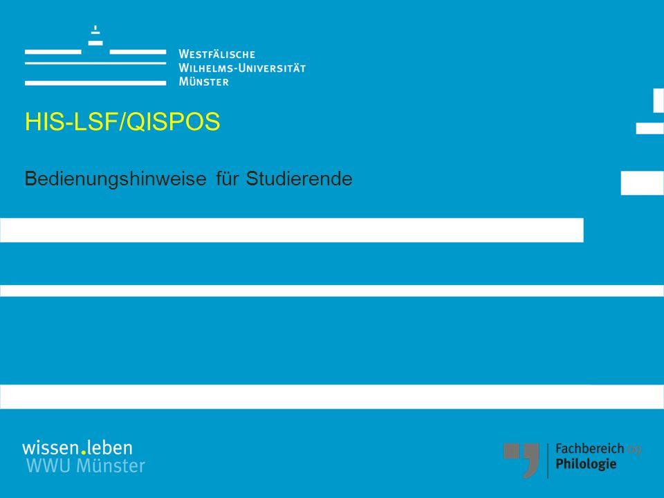 HIS-LSF/QISPOS Bedienungshinweise für Studierende