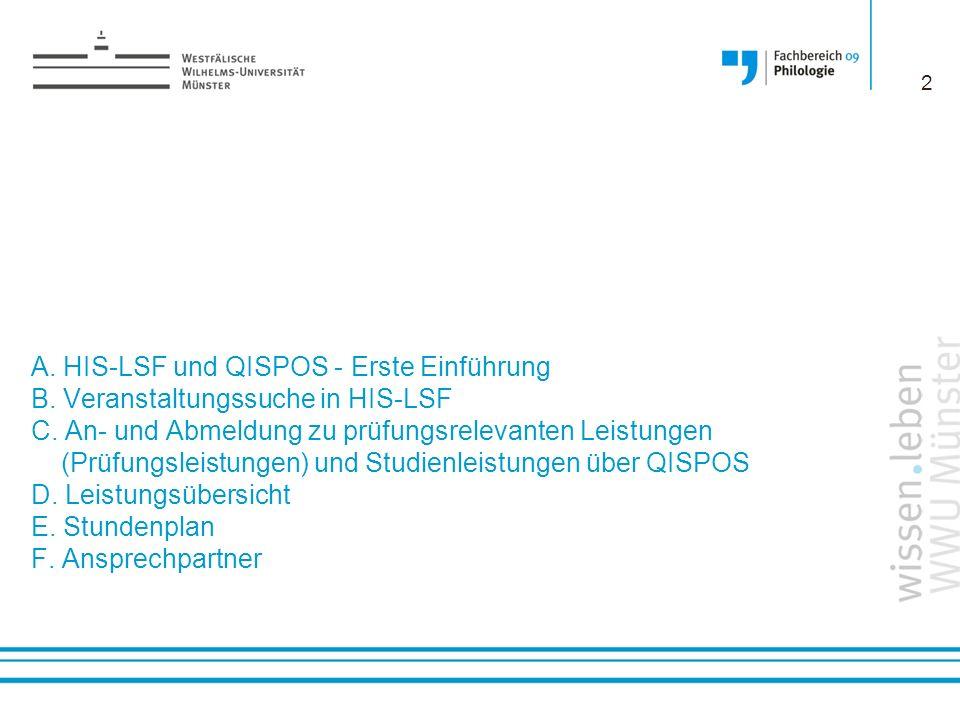 A. HIS-LSF und QISPOS - Erste Einführung B