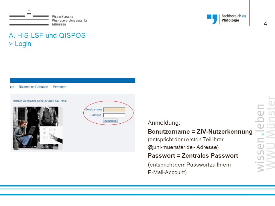 A. HIS-LSF und QISPOS > Login