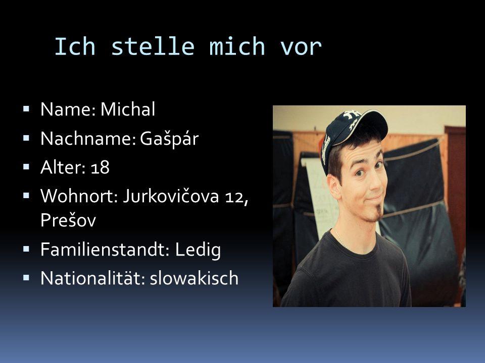 Ich stelle mich vor Name: Michal Nachname: Gašpár Alter: 18