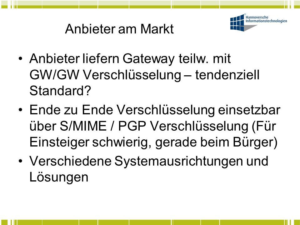 Anbieter am Markt Anbieter liefern Gateway teilw. mit GW/GW Verschlüsselung – tendenziell Standard