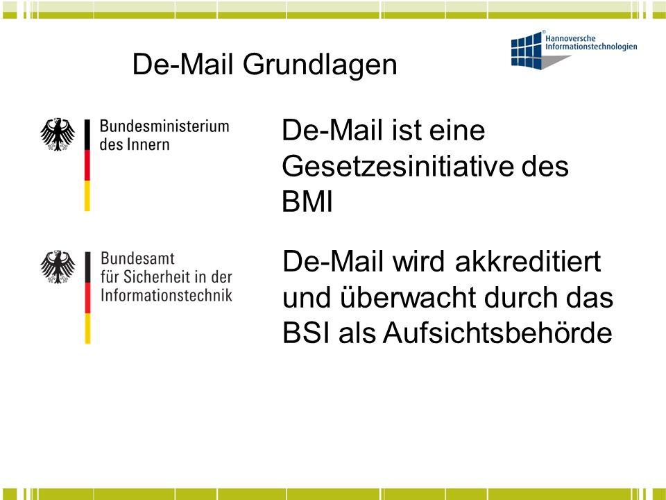 De-Mail Grundlagen De-Mail ist eine Gesetzesinitiative des BMI.