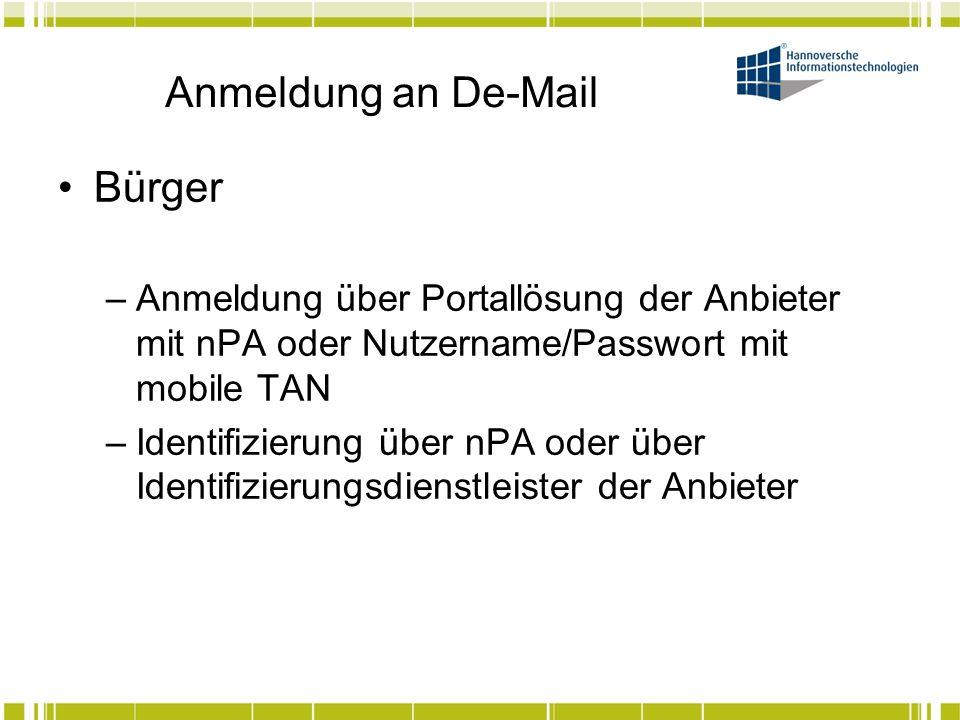 Anmeldung an De-Mail Bürger