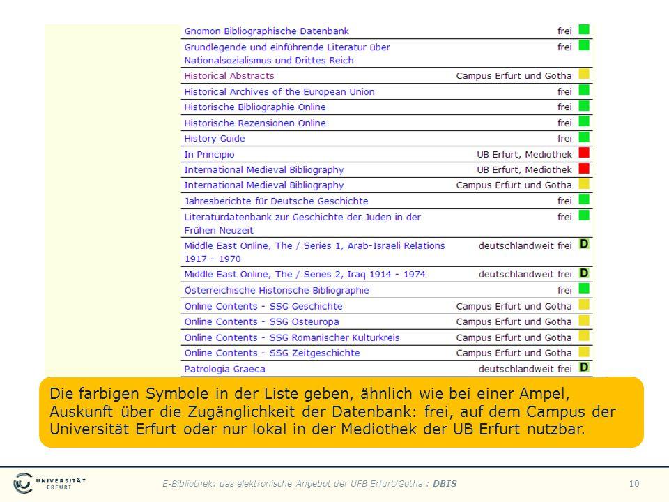 Die farbigen Symbole in der Liste geben, ähnlich wie bei einer Ampel, Auskunft über die Zugänglichkeit der Datenbank: frei, auf dem Campus der Universität Erfurt oder nur lokal in der Mediothek der UB Erfurt nutzbar.