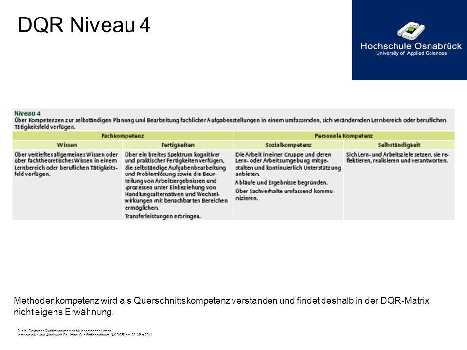 DQR Niveau 4 Methodenkompetenz wird als Querschnittskompetenz verstanden und findet deshalb in der DQR-Matrix nicht eigens Erwähnung.