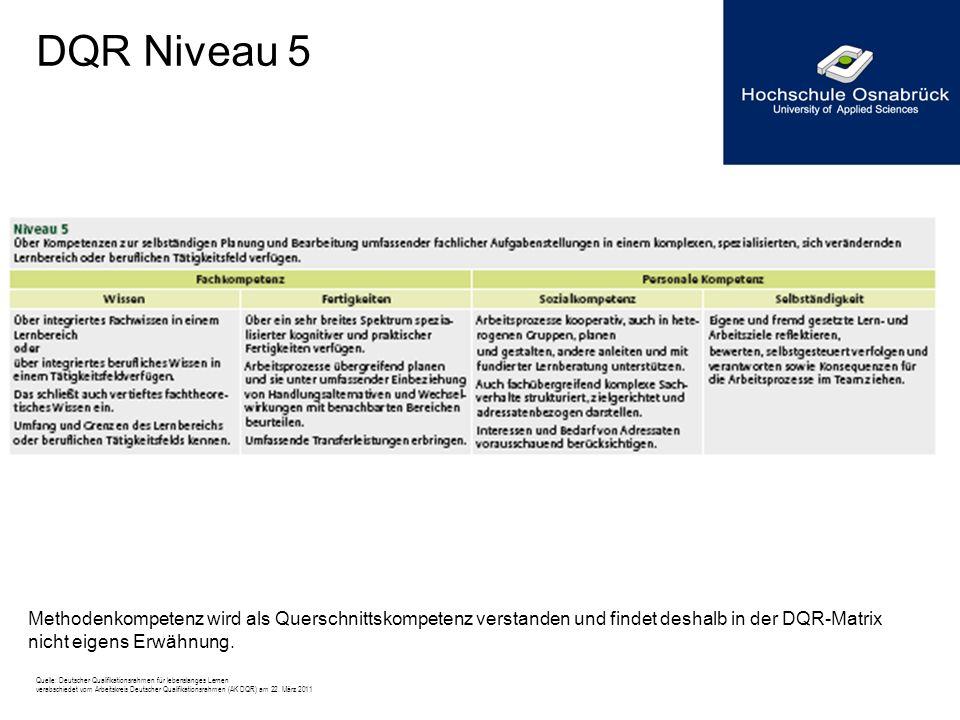 DQR Niveau 5 Methodenkompetenz wird als Querschnittskompetenz verstanden und findet deshalb in der DQR-Matrix nicht eigens Erwähnung.
