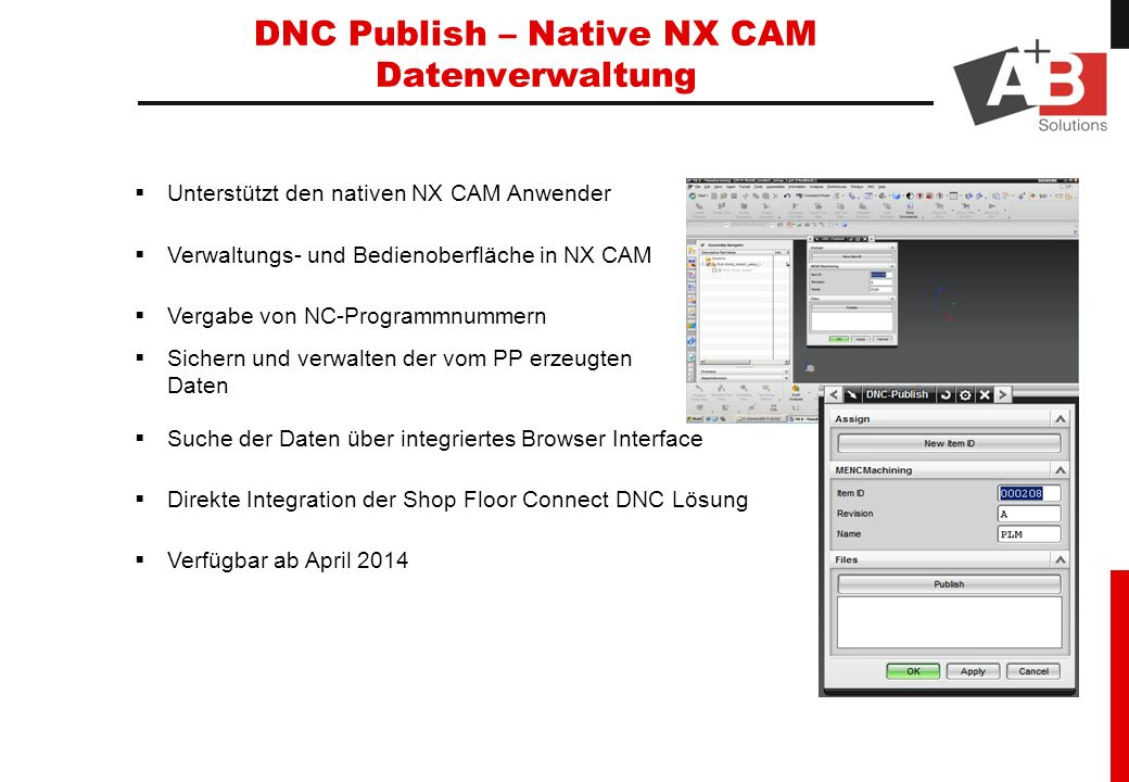 DNC Publish – Native NX CAM Datenverwaltung