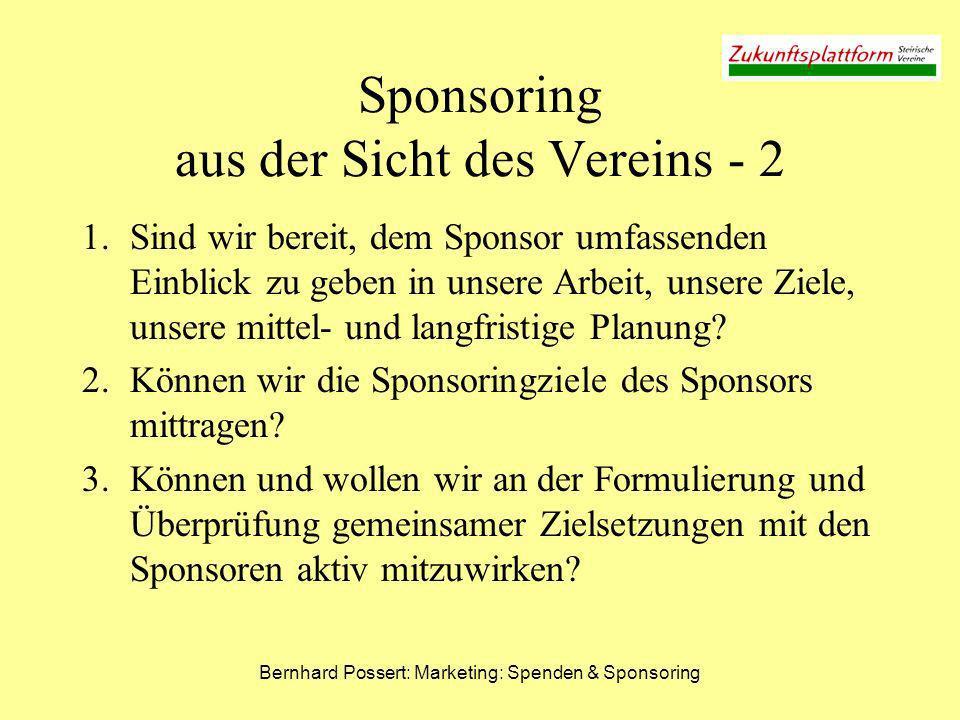 Sponsoring aus der Sicht des Vereins - 2