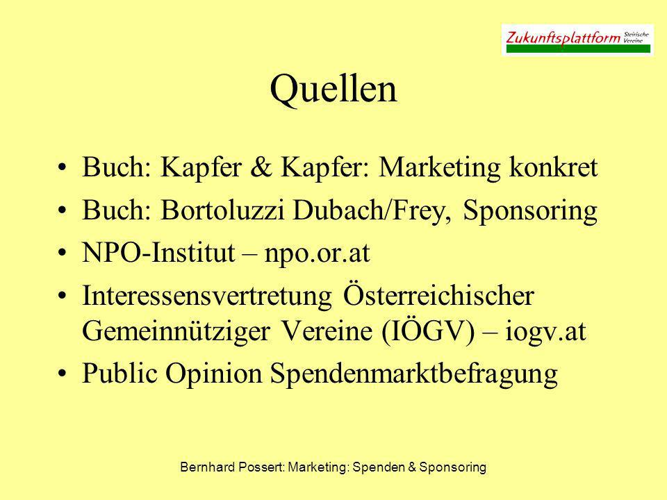 Bernhard Possert: Marketing: Spenden & Sponsoring