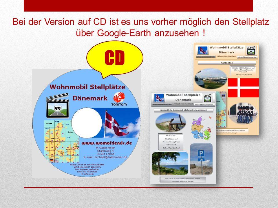 CD Bei der Version auf CD ist es uns vorher möglich den Stellplatz