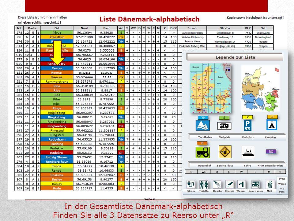 In der Gesamtliste Dänemark-alphabetisch
