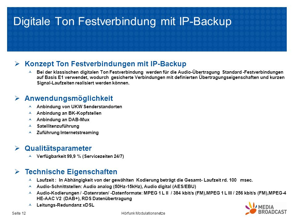 Digitale Ton Festverbindung mit IP-Backup