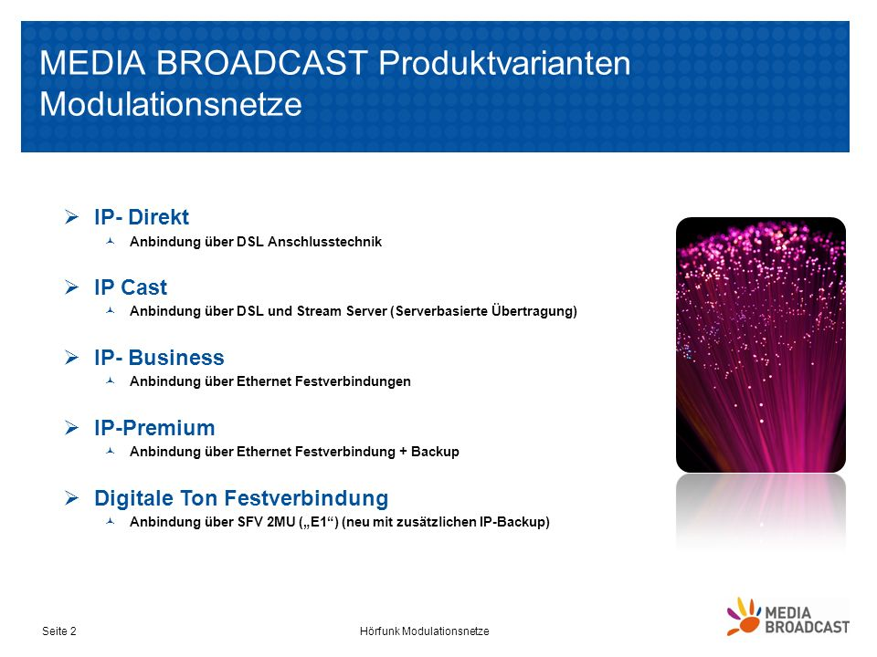 MEDIA BROADCAST Produktvarianten Modulationsnetze