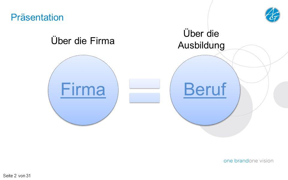Präsentation Über die Ausbildung Über die Firma Seite 2 von 31 Firma