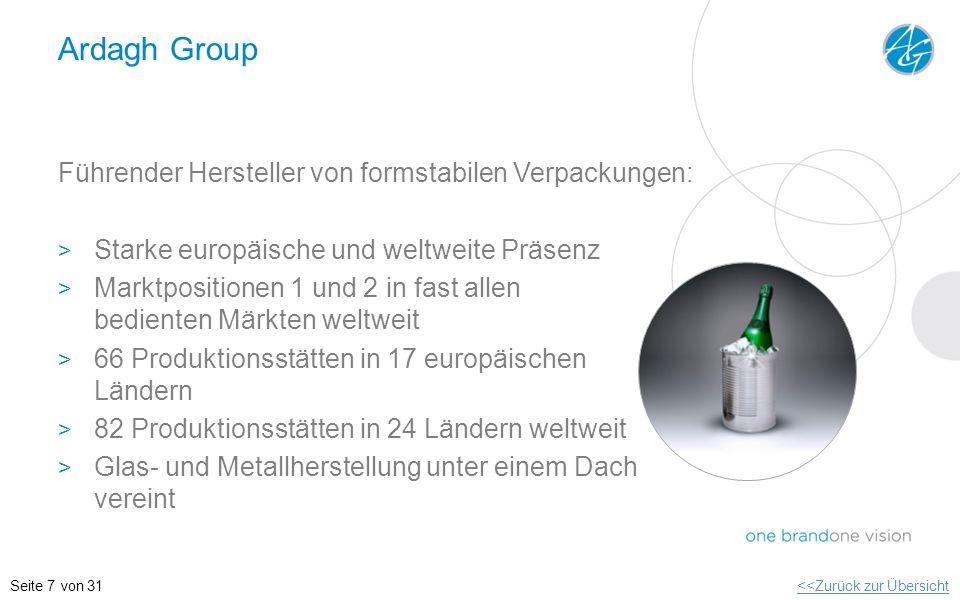 Ardagh Group Führender Hersteller von formstabilen Verpackungen: