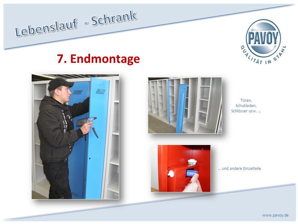Lebenslauf - Schrank 7. Endmontage Türen, Schubladen, Schlösser usw. …