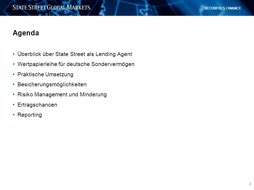 Agenda Überblick über State Street als Lending Agent