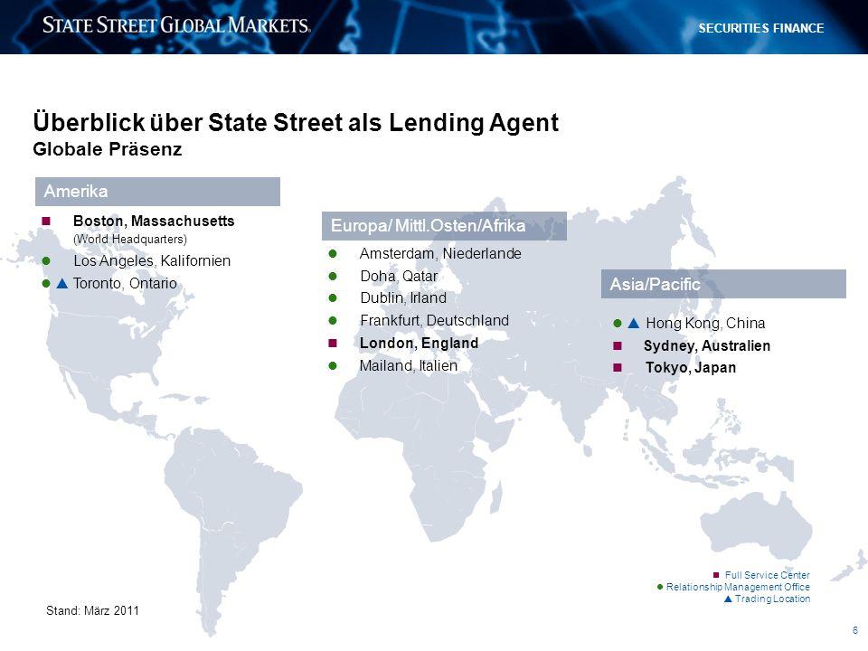 Überblick über State Street als Lending Agent Globale Präsenz