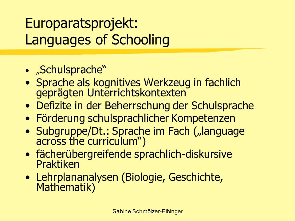 Europaratsprojekt: Languages of Schooling