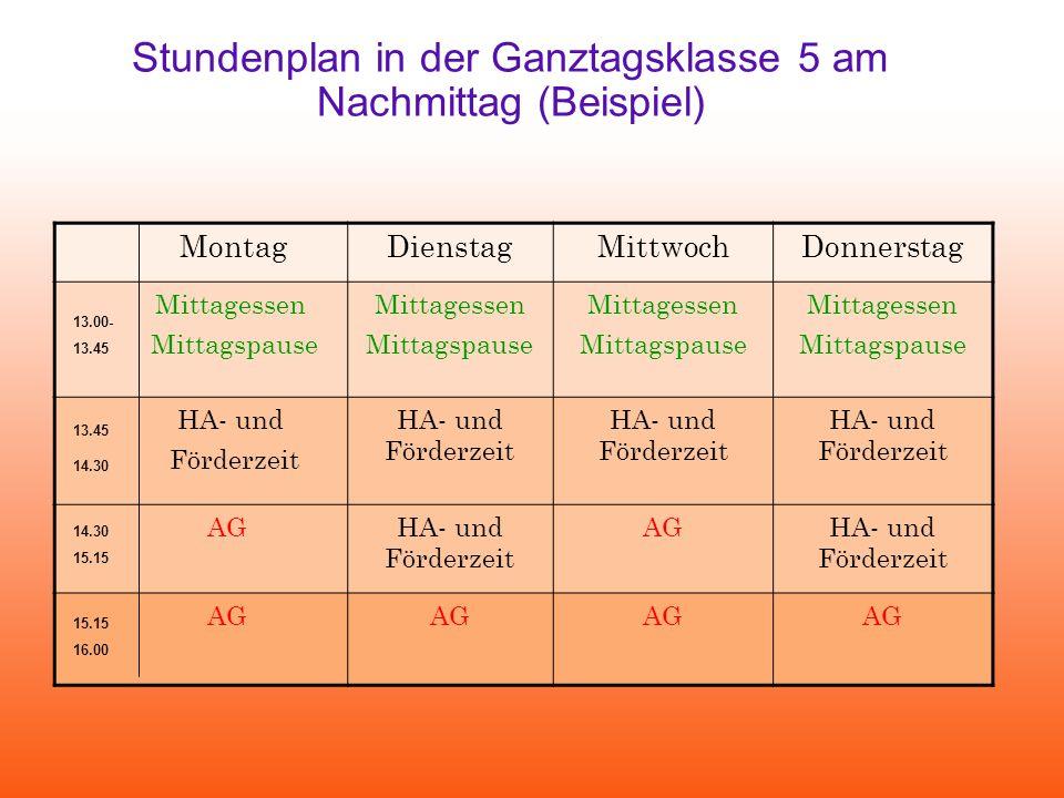 Stundenplan in der Ganztagsklasse 5 am Nachmittag (Beispiel)