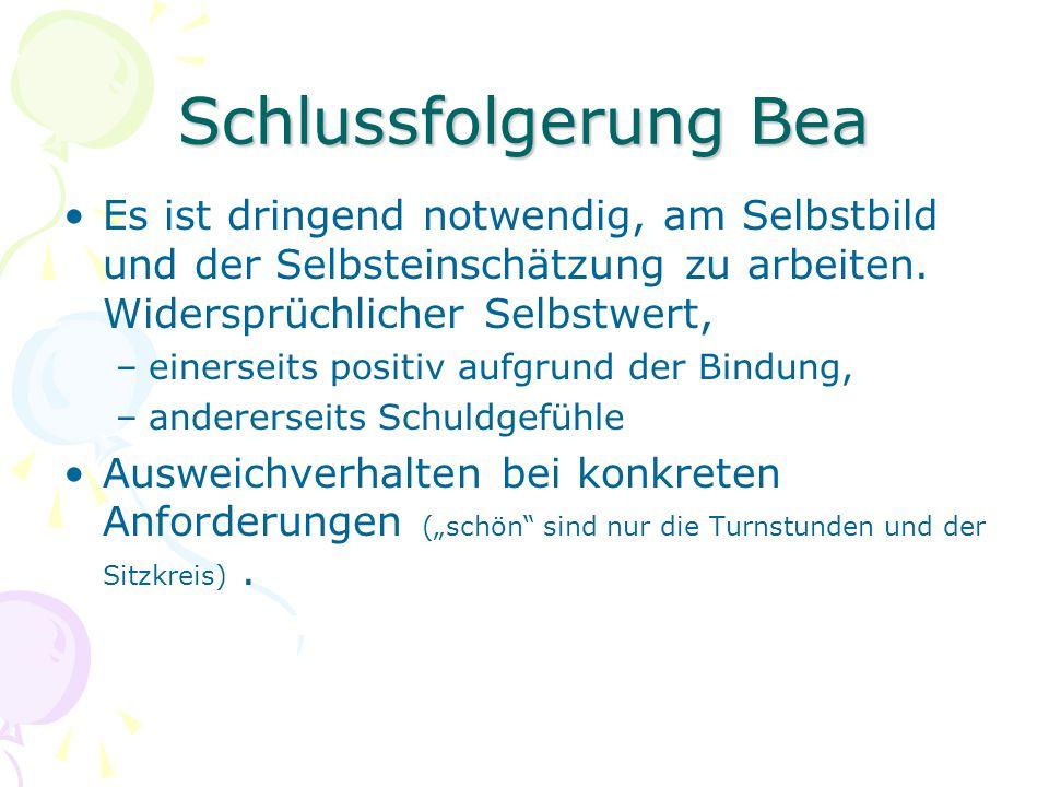 Schlussfolgerung Bea Es ist dringend notwendig, am Selbstbild und der Selbsteinschätzung zu arbeiten. Widersprüchlicher Selbstwert,