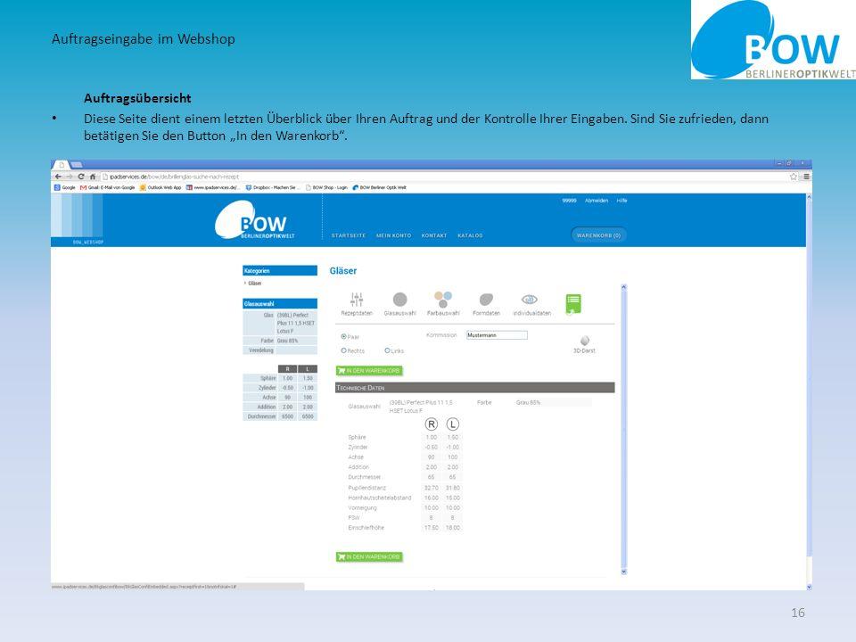 Auftragseingabe im Webshop