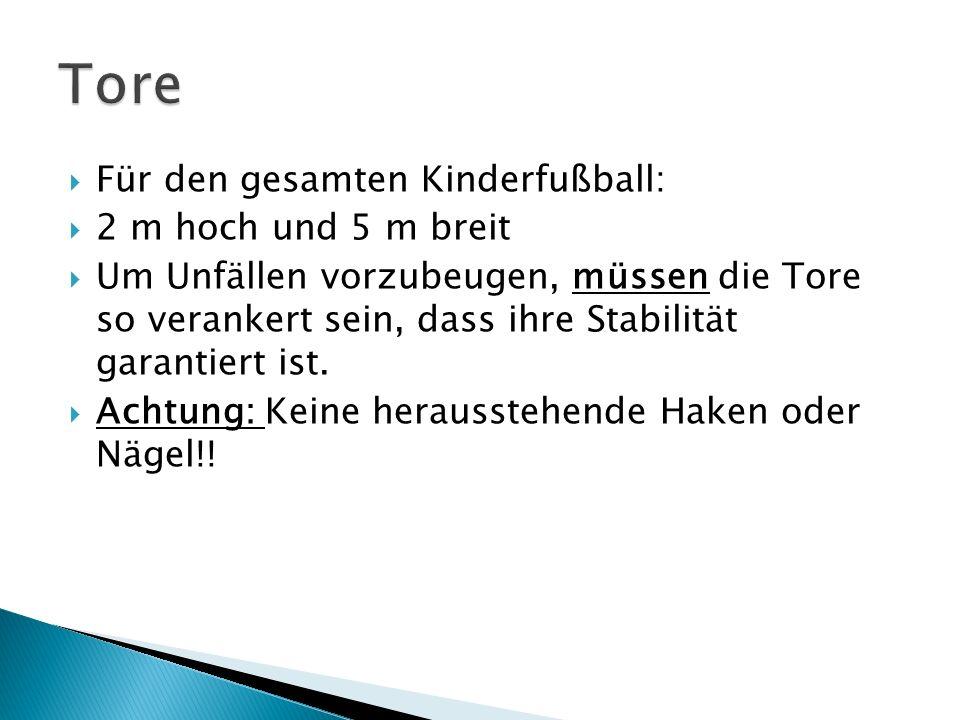 Tore Für den gesamten Kinderfußball: 2 m hoch und 5 m breit