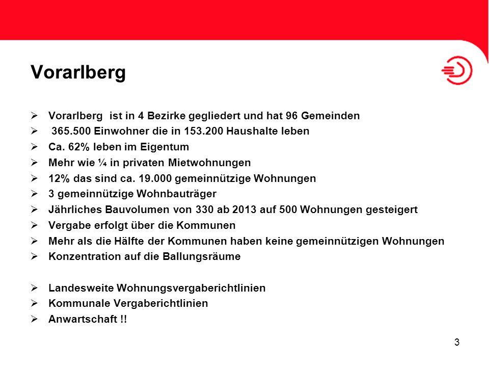 Vorarlberg Vorarlberg ist in 4 Bezirke gegliedert und hat 96 Gemeinden