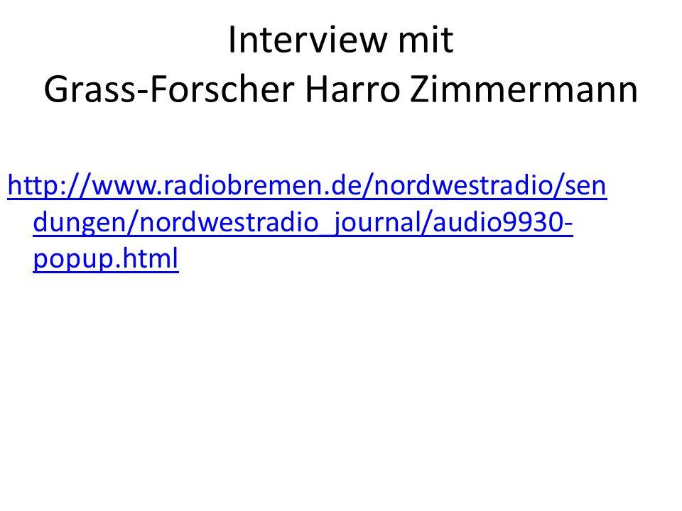 Interview mit Grass-Forscher Harro Zimmermann