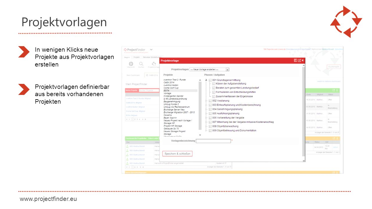 Projektvorlagen In wenigen Klicks neue Projekte aus Projektvorlagen erstellen.
