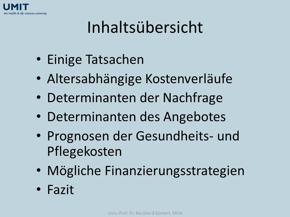 Univ.-Prof. Dr. Bernhard Güntert, MHA