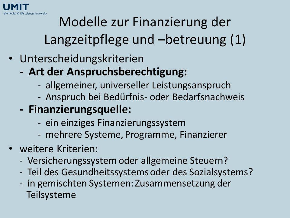 Modelle zur Finanzierung der Langzeitpflege und –betreuung (1)