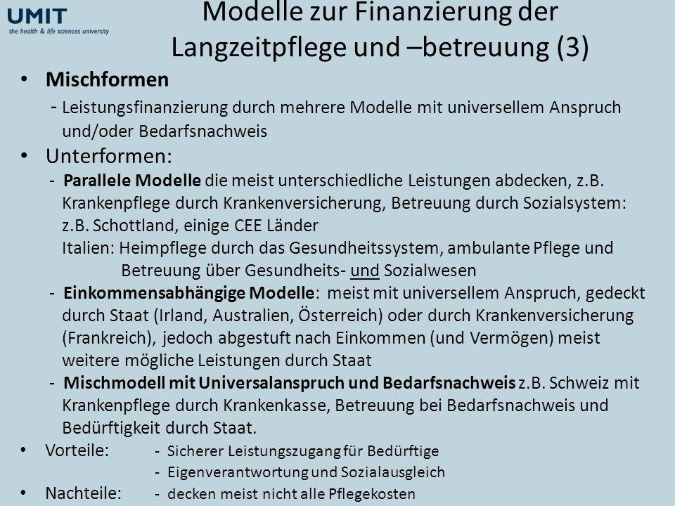 Modelle zur Finanzierung der Langzeitpflege und –betreuung (3)