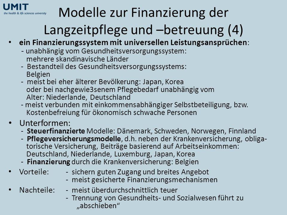 Modelle zur Finanzierung der Langzeitpflege und –betreuung (4)